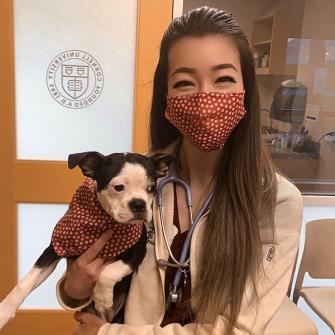 Dr. Stephanie Kuo (@steph.vetmed) in our Mini Paw Mask & Bandana Set