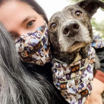 Megan (@nycdogmom) in our Best Friends Mask & Bandana Set