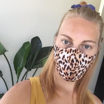 Kate (@ktnelsen) in our Animal Print Mask