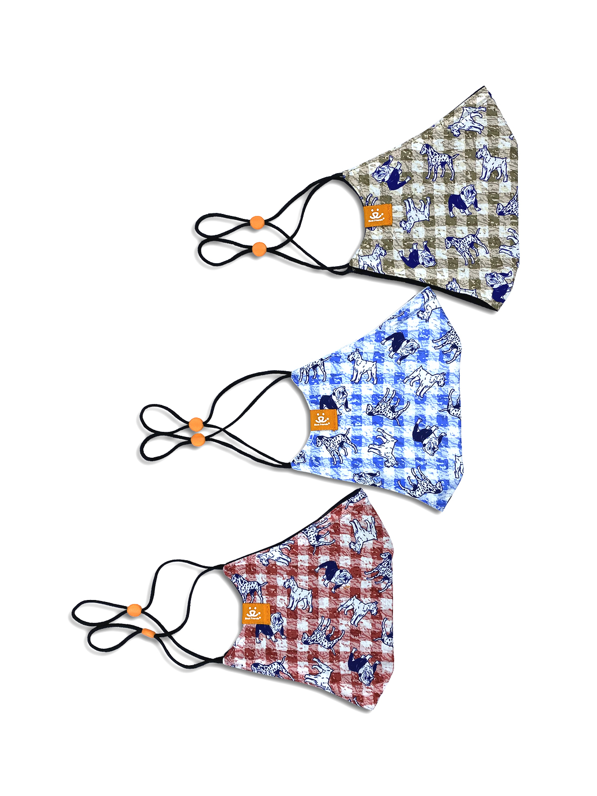 GINGHAM DOG CONE MASK 3-PACK