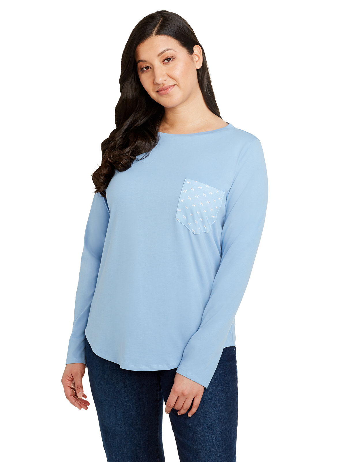 SOLID DOG PATCH LONG SLEEVE BOAT NECK T-SHIRT
