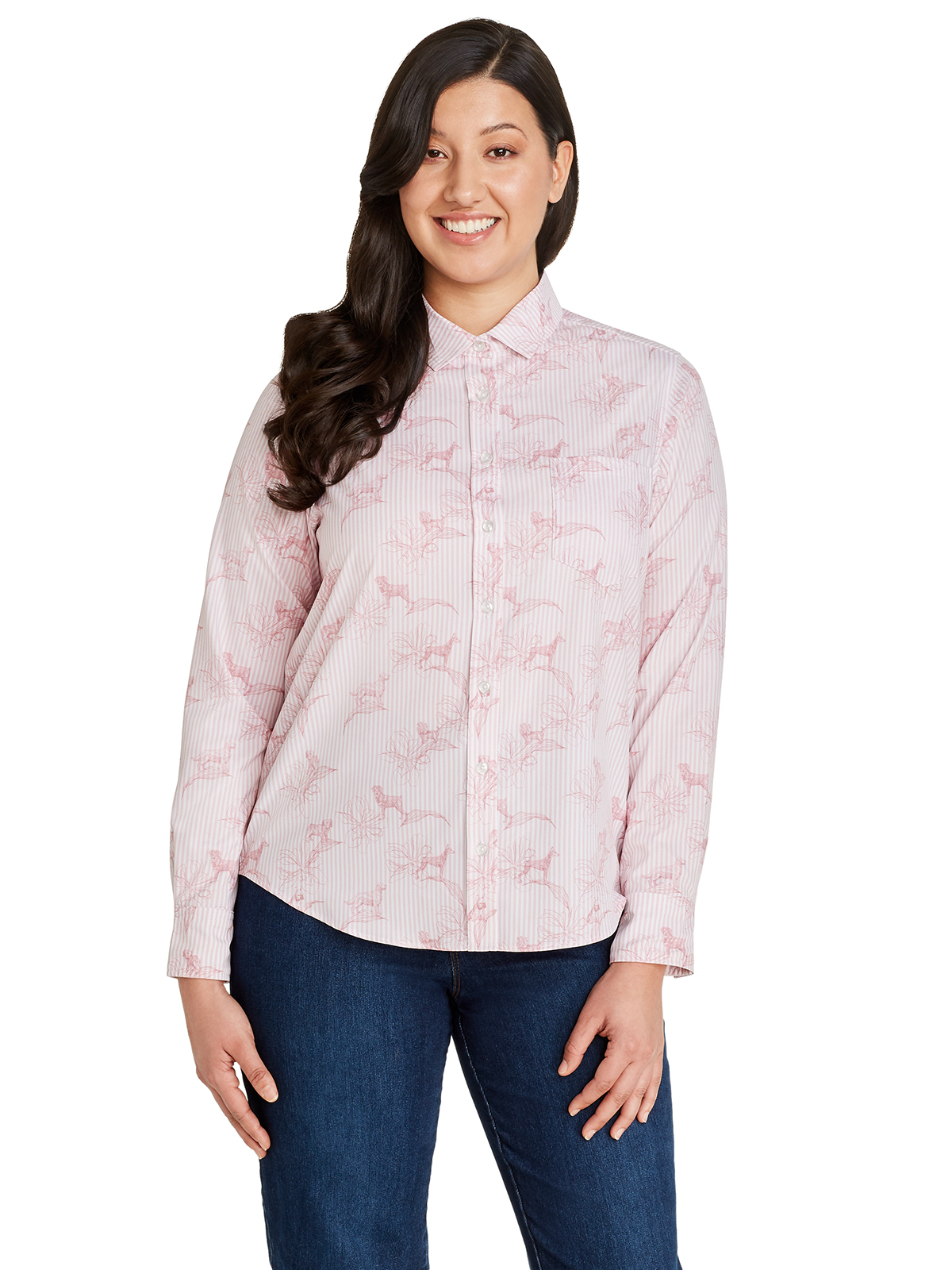 LINE FLORAL PUPPY LONG SLEEVE EVERYDAY SHIRT