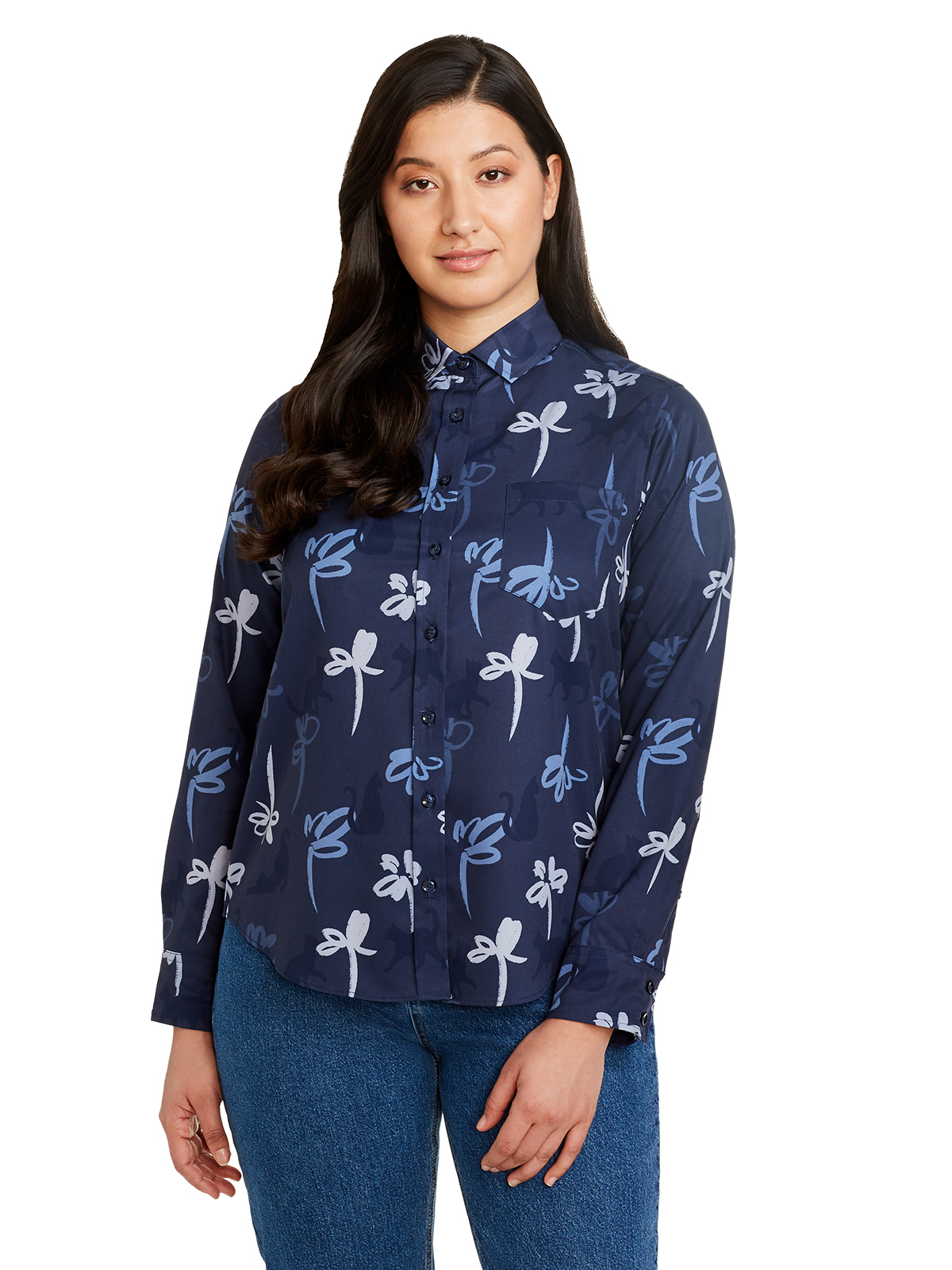 CAT FLORAL LONG SLEEVE EVERYDAY SHIRT