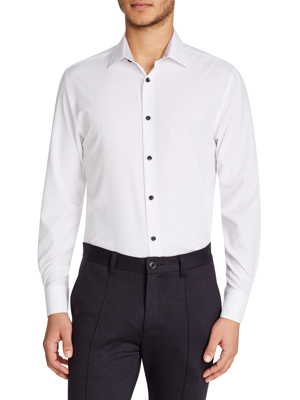 White Solid Cooling Performance Dress Shirt