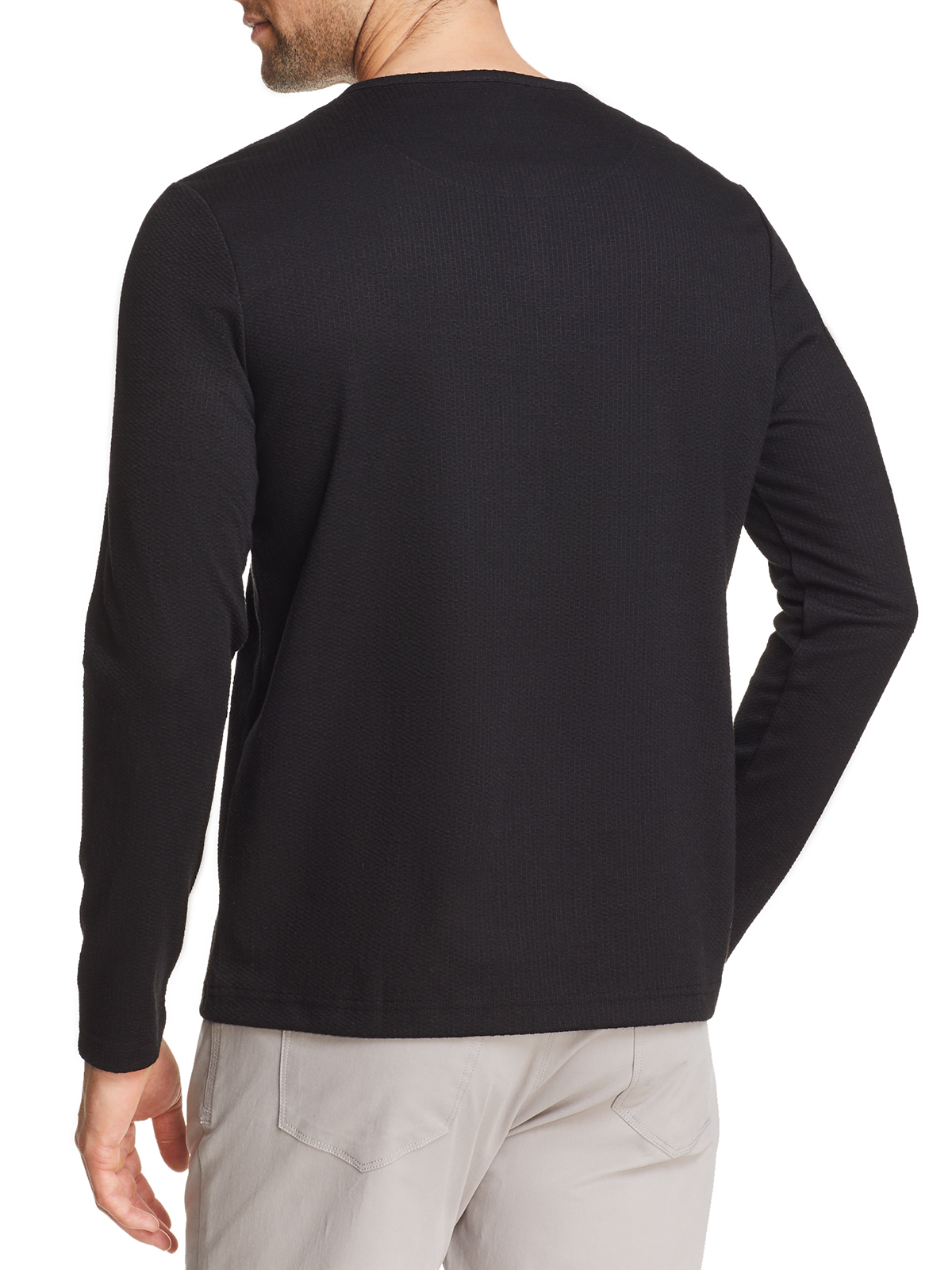 SOLID WAFFLE KNIT LONG SLEEVE HENLEY