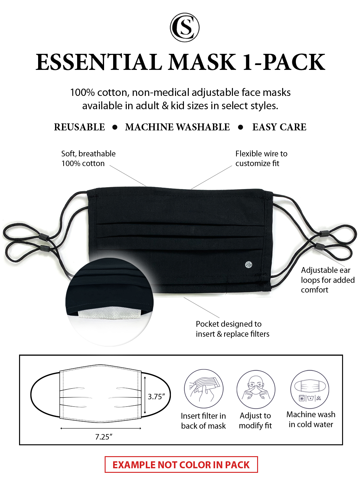 ABSTRACT PLEATED MASK 1-PACK