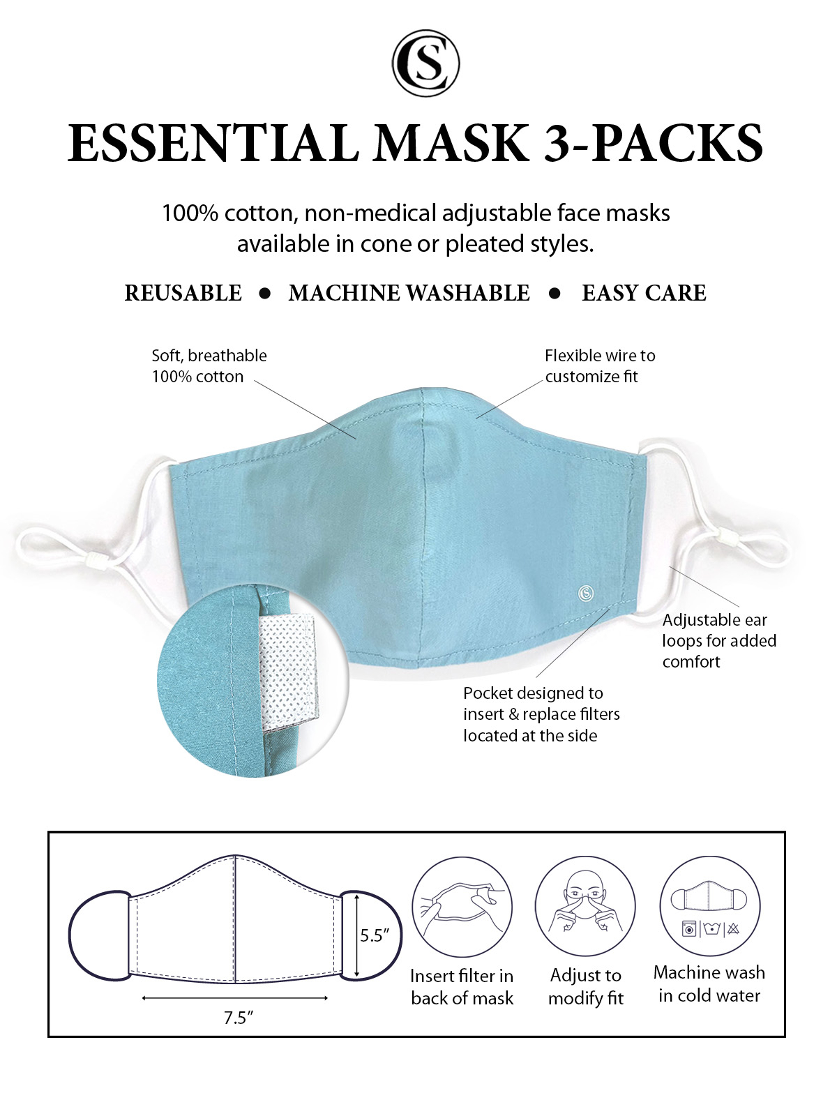 PAISLEY PRINT CONE MASK 3-PACK