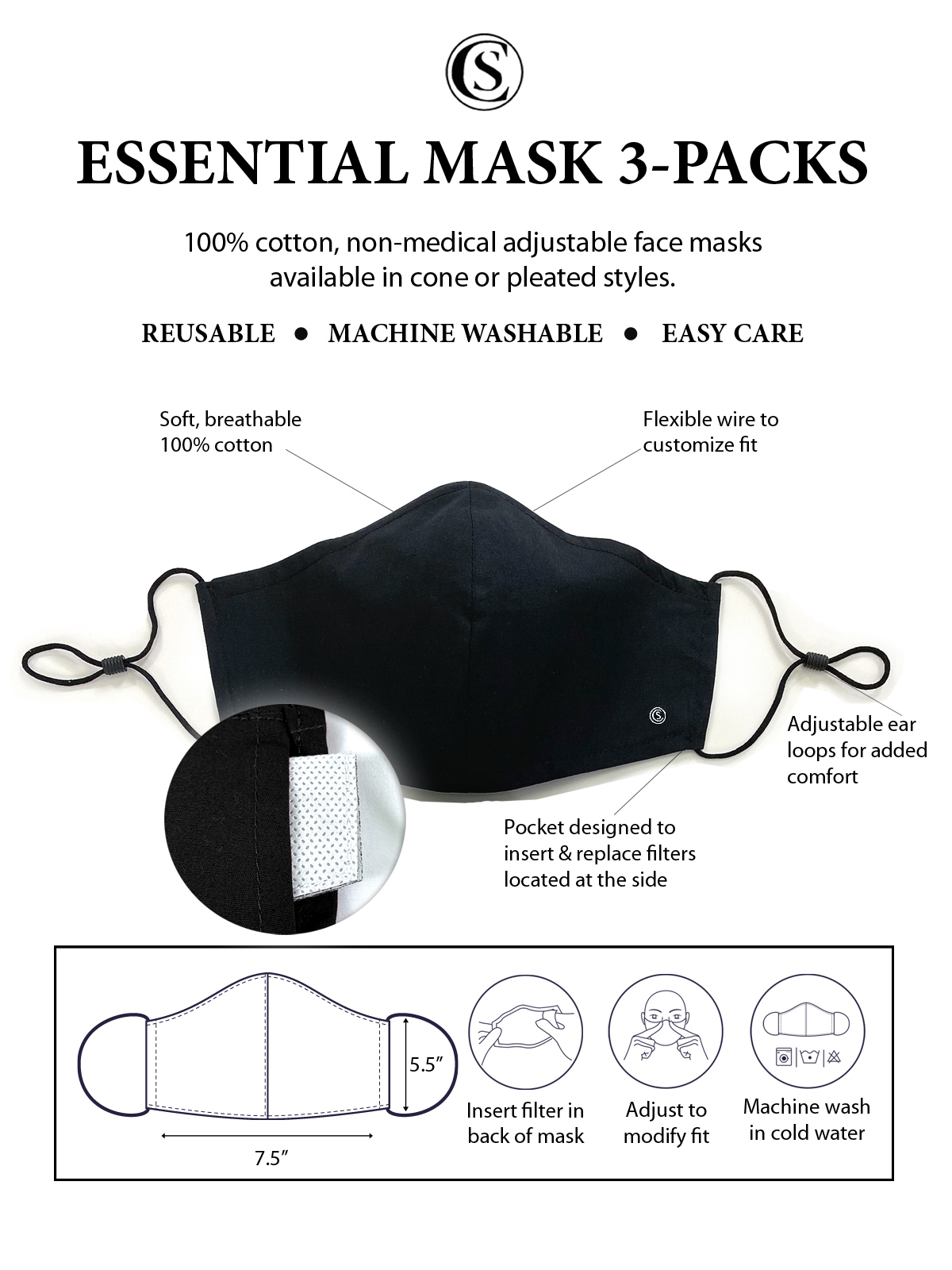 SOLID BLACK CONE MASK 3-PACK