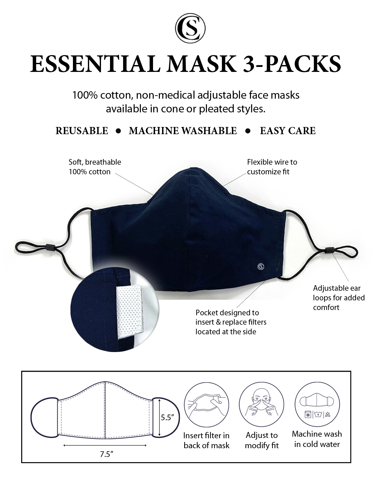 SOLID NAVY CONE MASK 3-PACK