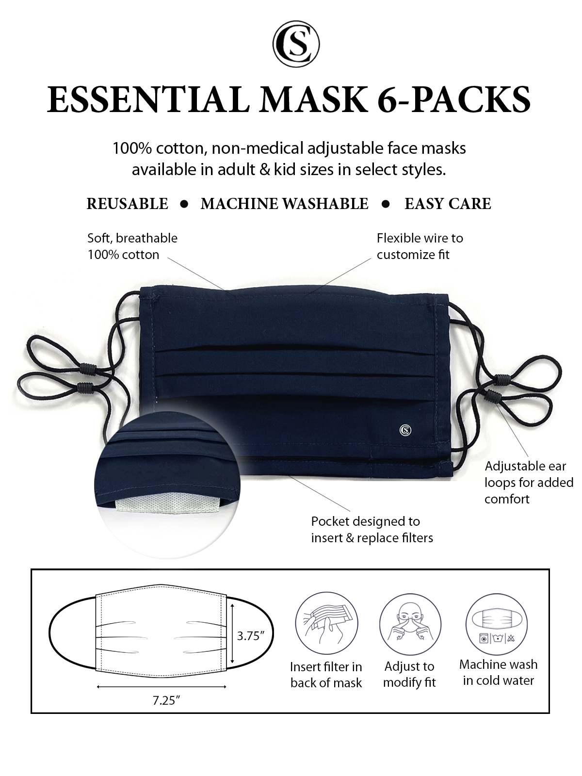 SOLID AMERICANA PLEATED MASK 6-PACK
