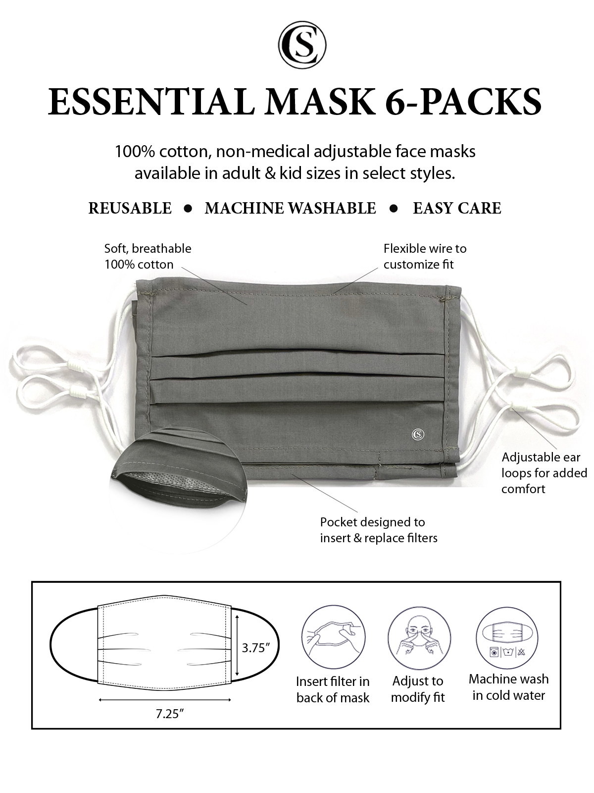 ROSE PLEATED MASK 6-PACK