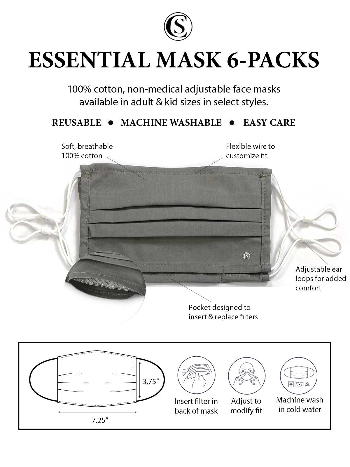 SOLID GREY PLEATED MASK 6-PACK