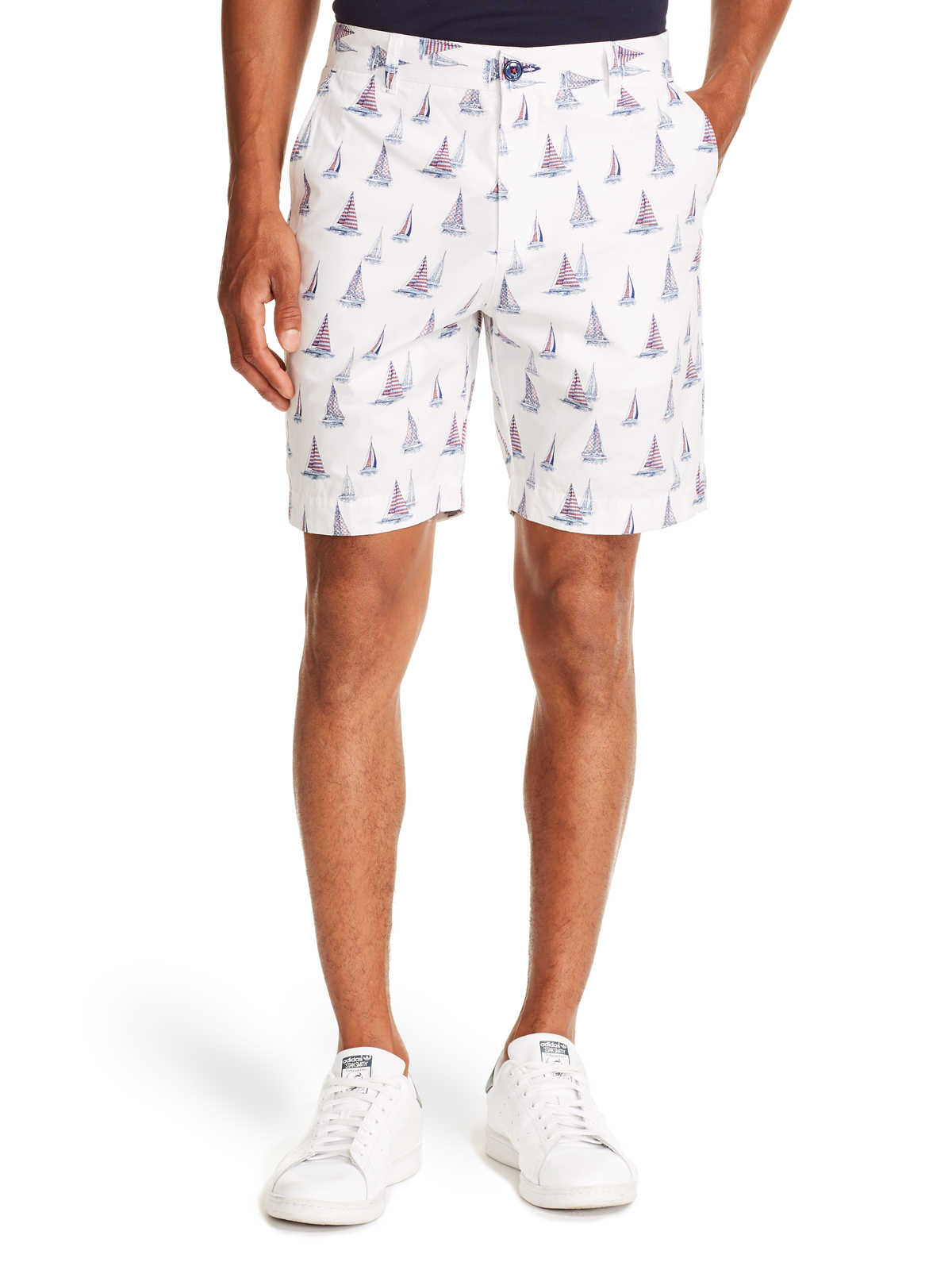 WHITE BOAT PRINT SHORTS FOR MEN FRONT VIEW