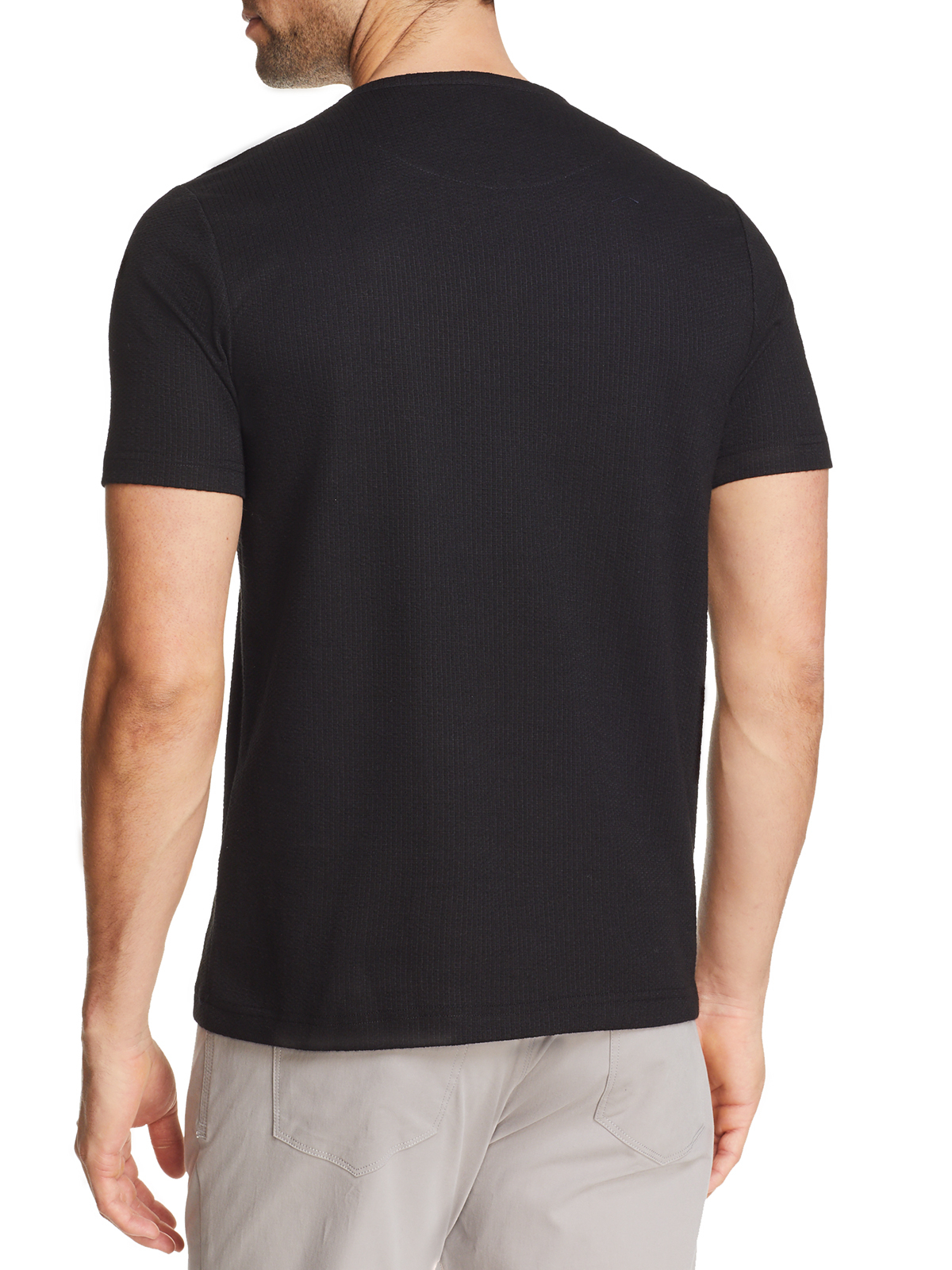 SOLID WAFFLE KNIT SHORT SLEEVE HENLEY