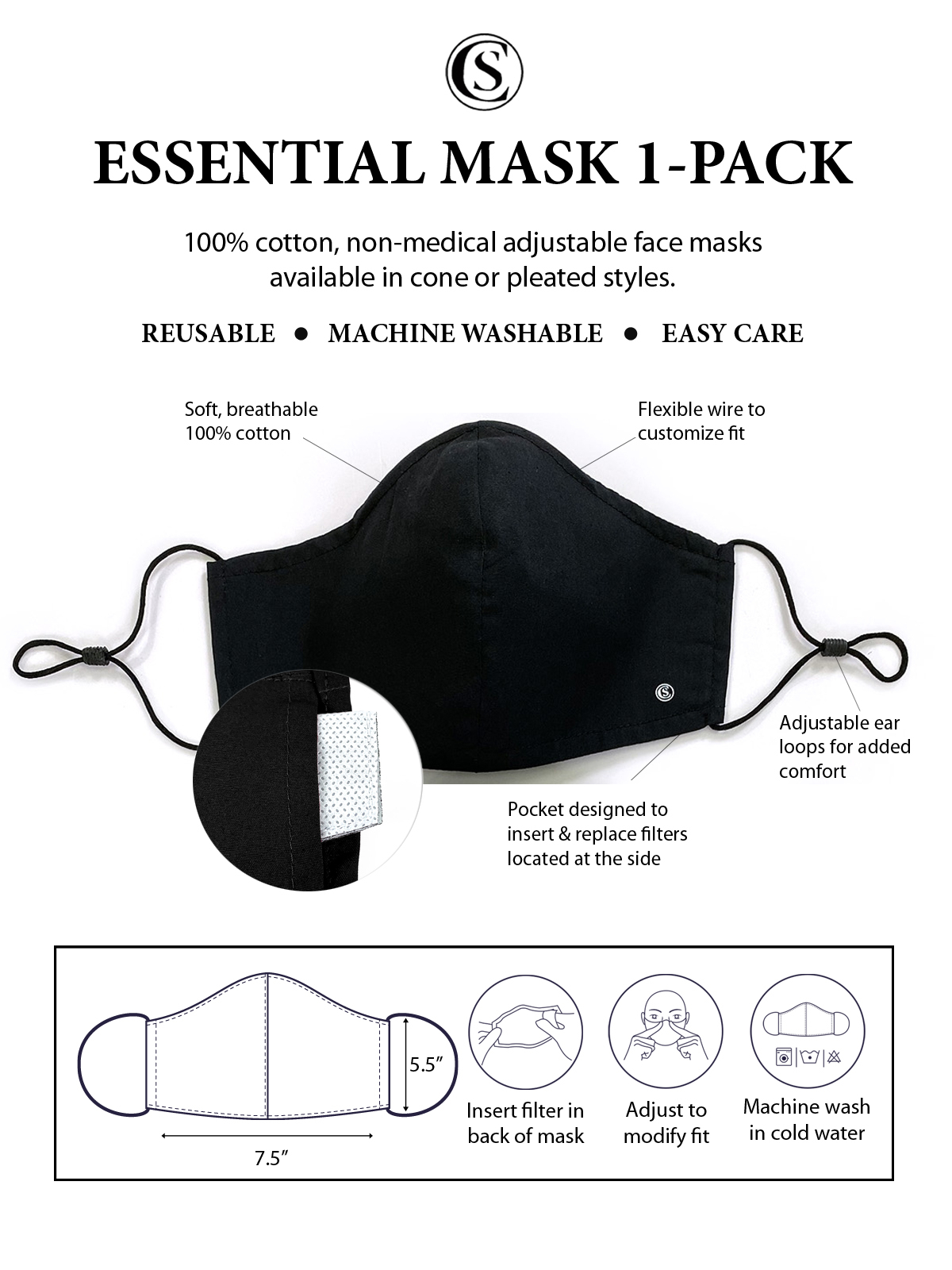 SOLID CONE MASK 1-PACK